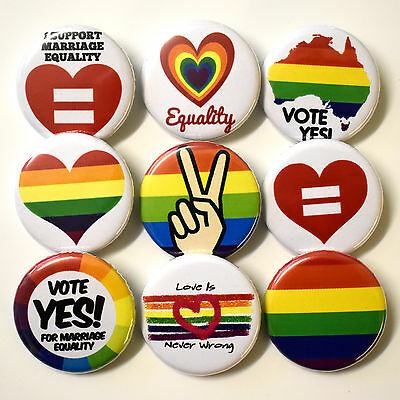 Gay Marriage Equality Badges Buttons Pins Set Lot x 9 - 32mm Pride Equal Love