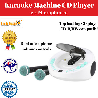 Karaoke Machine with CD Player 2 Microphones LED Display Party Disco Speaker NEW