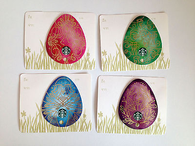 Starbucks Easter Eggs Thailand Collection 2015 Set Of FOUR Cards Gift Card