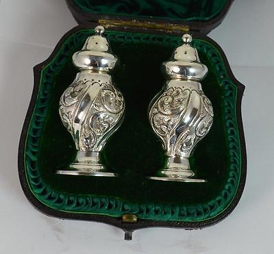 Pair of Victorian Sterling Silver Salt and Pepper Pots in Original Fitted Case
