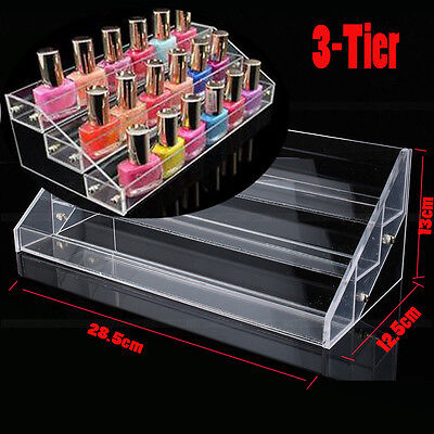3 Tier Clear Acrylic Nail Polish Cosmetic Varnish Display Stand Rack Organizer