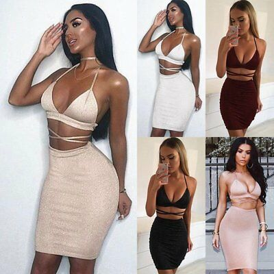 Womens V Neck Party Club Bodycon Two-piece Short Dress Set  Crop Tops Skirt