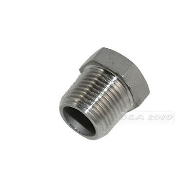 "1/2"" Male x 1/4"" Female Thread Reducer Bushing M/F Pipe Fitting SS 304 BSPT"