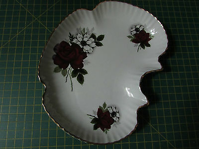 Old Foley serving plate Dark red roses James Kent Made in England 19cm x 15cm