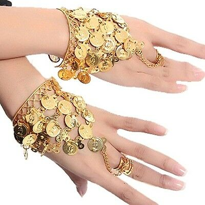 Belly Dance Gold Coins Bangle Ring Wristband Bollywood Hand Bracelet Accessories