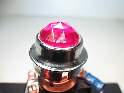 "Vintage Dialco ? Panel Mount Indicator Light Lens ¾"" Red Faceted Jewel Diamond"