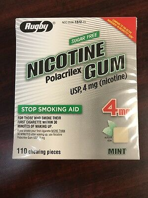 RUGBY SUGAR FREE NICOTINE GUM ~ 4 MG ~ 110 PIECES ~ MINT ~  2019 ~ Free Shipping