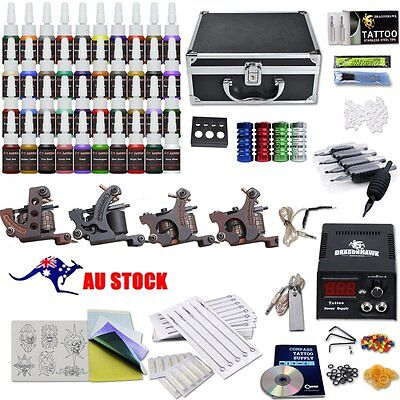 Complete Tattoo Kit Set 40 color Inks Power Supply 4 TOP Machine Guns  HT