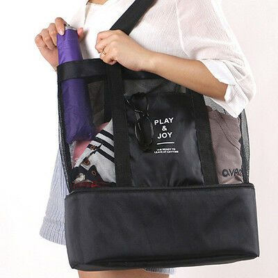 Mesh beach bag with insulated pocket. Easy store picnic bag with cooler section.