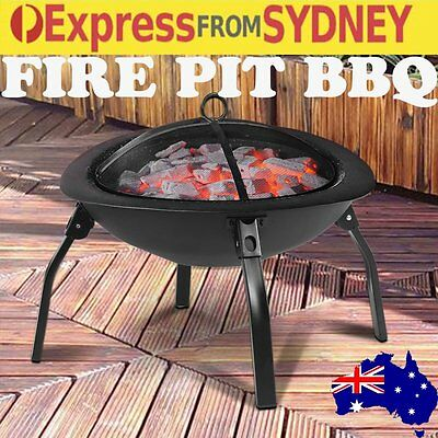 "22"" OUTDOOR FIRE PIT BBQ Portable Camping Fireplace Heater Patio Garden Grill H6"