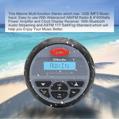 Waterproof Gauge Audio Stereo Marine Bluetooth Car Boat Outdoor Player Radio