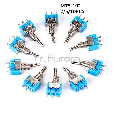 2/5/10pcs Mini ON-ON MTS-102 3-Pin SPDT125V AC 6A Miniature Toggle Switches