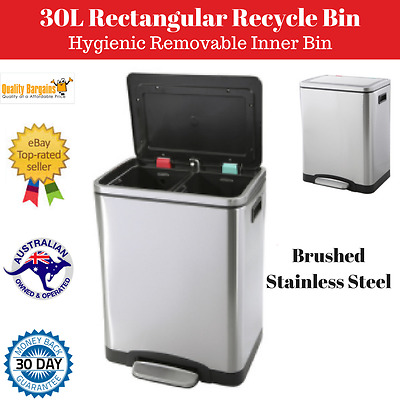 Stainless Steel Double Recycle Bin Recycling Garbage Kitchen Trash Rubbish Can
