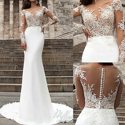 Sexy 2017White/ivory Sheer Lace Mermaid Wedding Dresses Prom Formal Evening Gown