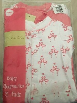 Lily & Dan Baby Girls Sleepsuits 3 Pack. Tiny Baby 5-8lbs