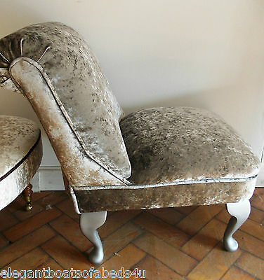 Small Bedroom Chair Silver Greycrushed Velvet Traditional Queen Anne Style Leg
