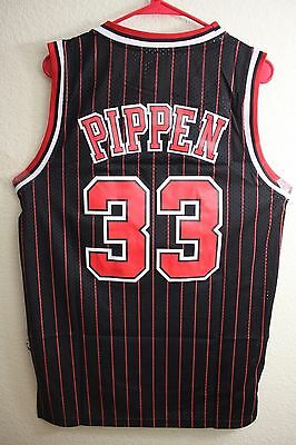 New Chicago Bulls Scottie Pippen 33 STRIPED Throwback Swingman Jersey Basketball