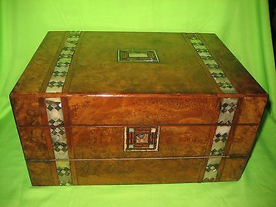 Antique Wooden  Writing Slope Box With Mother of Pearl Inlay