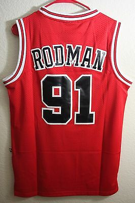 New Chicago Bulls Dennis Rodman 91 RED Throwback Swingman Jersey Basketball NWT