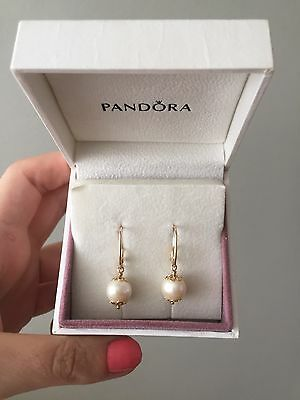 Pandora 14ct Gold Pearl Earrings Pendant Charm