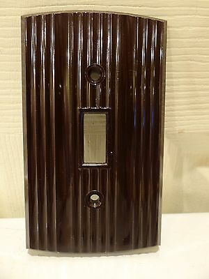 Vintage NOS Roger Deluxe Brown Bakelite Single Gang Light Switch Plate Cover