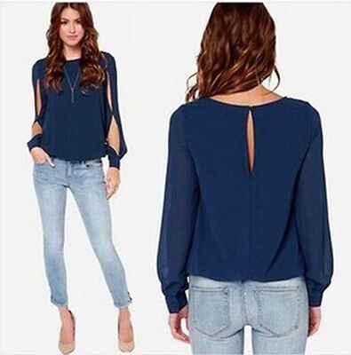 Women's Ladies Casual Loose Chiffon Long Sleeve Blouse Tops T-Shirt Plus Size