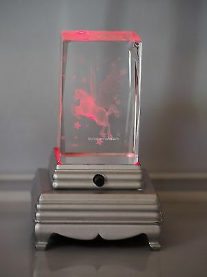 Unicorn Crystal (d) : 3D Laser Crystal  W/Base (Base will vari from picture)