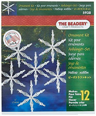Beadery Plastic Holiday Beaded Ornament Kit Ice Crystal Snowflakes 3-inch Makes