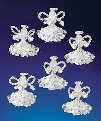 Beadery Plastic Holiday Beaded Ornament Kit Crystal Angels 2-inch Makes 6