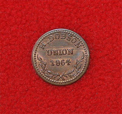 1864 Civil War Store Card Token, H. Dobson Union - Arcade House Providence, RI