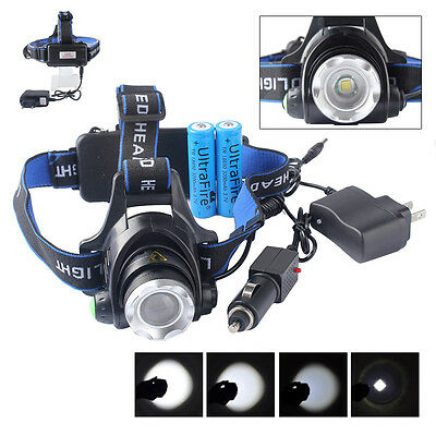 10000LM XML T6 LED Headlamp Rechargeable Headlight Head Lamp Torch+18650 Battery