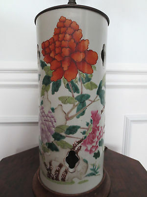 Antique 19th Century Chinese Famille Rose Porcelain Hat Stand / Lamp