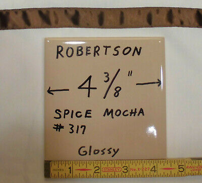 "9 pcs. Vintage Glossy Ceramic Tiles…Spiced Mocha…4-3/8"" by Robertson Co. (NOS)"