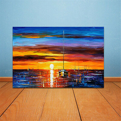 Frameless Huge Wall Art Oil Painting On Canvas Sea Sunset Home Decor