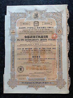 City of Moscow 5% £20 bond certificate 1908