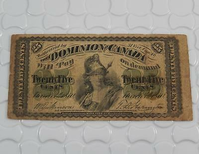 Dominion of Canada 1870 25 Twenty Five Cents Fractional Currency Note P0058