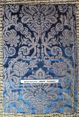 "French Antique 19thc Indigo Woven Silk Home Decor Frame Fabric Textile L36""xW25"""
