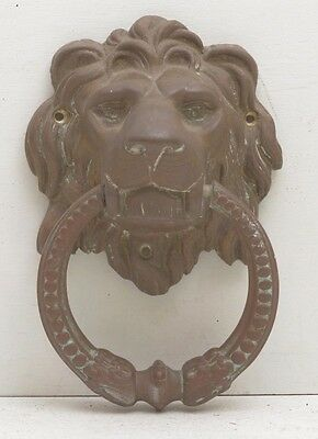 1800s Rare Brass Patina Lion Head Victorian Front Door Knocker Salvage Bronze