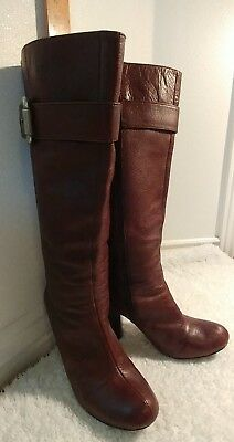 """Women's """"Fossil"""" Brown Leather Tall high heel boots size 9"""