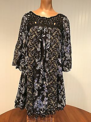 Super Cute Free People Black Floral Dress Criss Cross Back Lace Accents Size XS