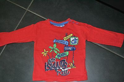 T-shirt longues manches/sweatshirt rouge - taille 12 mois
