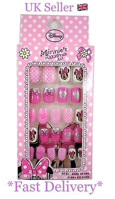 Disney Minnie Mouse Makeover Kit 24 Easy To Press On Fake Nails Uk AB150