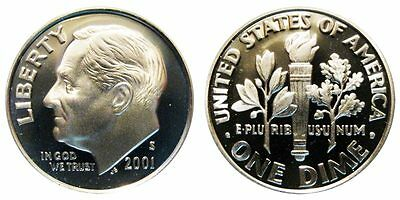 2001-S PROOF 90% SILVER Roosevelt Dime , Gem Cameo , FREE SHIPPING!