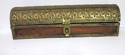 Vintage Old Hand carved Brass Fitted Decorated Unique Wooden Jewelry Box