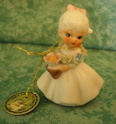 Vintage Napcoware Porcelain Figurine~Flower Girl Of Month~October~W/tags~Taiwan
