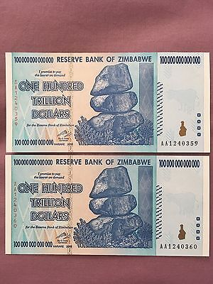 Two (2) Zimbabwe 100 Trillion Dollar Banknotes AA-2008 P91 UNC