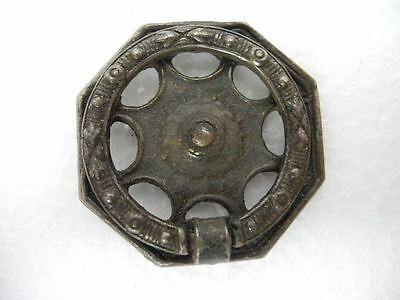 """Antique 1.75"""" Dia. Cast Metal Octagon Back Pull Ring Cabinet Drawer / Door Pull"""