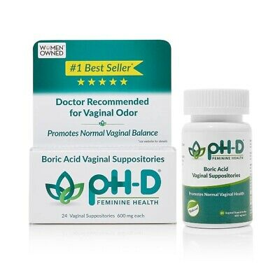 pH-D Feminine Health Support Boric Acid Vaginal Suppositories 24 & 72ct Natural