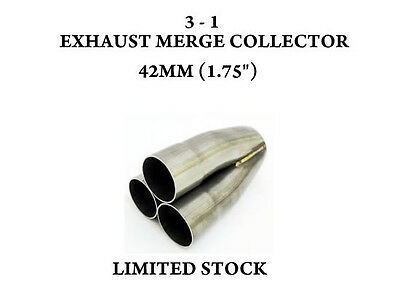 """Stainless Steel 3 Into 1 Exhaust Manifold Merge Colelctor 42Mm 1.75"""" Outlet 54Mm"""