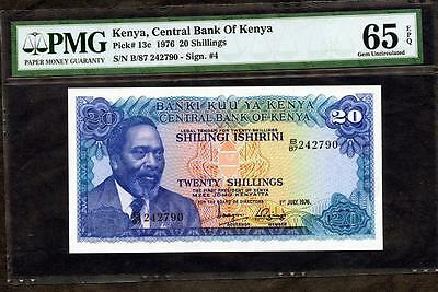 *1976 KENYA CENTRAL BANK OF KENYA 20 SHILLINGS PCK # 13c PMG 65 EPQ PLEASE LQQK!